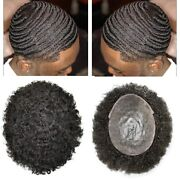 Black Male Men Toupee African American Afro Wavy Curly Poly Skin Hair System