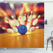 Bowling Party Shower Curtain Moment Of Crash Print For Bathroom