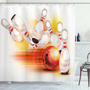 Bowling Party Shower Curtain Falling Skittles Print For Bathroom