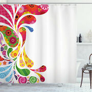 Paisley Shower Curtain Retro Floral Leaf Art Print For Bathroom 75 Inches Long