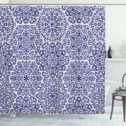 Russian Shower Curtain Ethnic Blooms Hearts Print For Bathroom