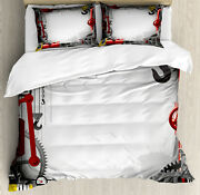 Industrial Duvet Cover Set With Pillow Shams Pipes Meters Print