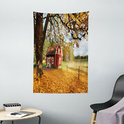 Fall Tapestry Red Swedish Country House Print Wall Hanging Decor