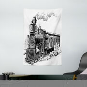Steam Engine Tapestry Rustic Old Train Print Wall Hanging Decor