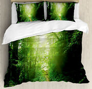 Green Duvet Cover Set With Pillow Shams Way In Jungle Of Malaysia Print