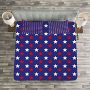 Usa Quilted Bedspread And Pillow Shams Set, Federal Holiday Design Print