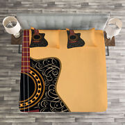 Guitar Quilted Bedspread And Pillow Shams Set Floral Folk Ornaments Print