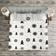 Nordic Quilted Bedspread And Pillow Shams Set Xmas Pine Trees Holiday Print