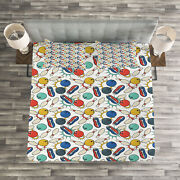 Bowling Quilted Bedspread And Pillow Shams Set Color Sketch Retro Print