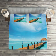 Tropical Quilted Coverlet And Pillow Shams Set, Exotic Hawaii Wooden Pier Print