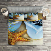 Beach Quilted Coverlet And Pillow Shams Set, Tropical Beach Seashell Print