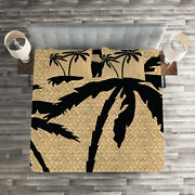 Tropical Quilted Coverlet And Pillow Shams Set, Palm Tree Silhouettes Print