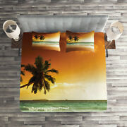 Tropical Quilted Coverlet And Pillow Shams Set, Palm Tree Exotic Beach Print