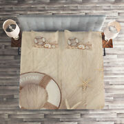 Holiday Quilted Coverlet And Pillow Shams Set Life Buoy Wooden Sepia Print