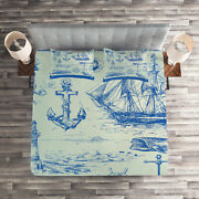 Fishing Quilted Coverlet And Pillow Shams Set, Whale Wheel Sketch Print