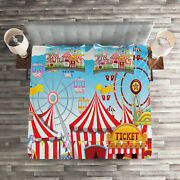 Landscape Quilted Coverlet And Pillow Shams Set, Carnival Many Rides Print
