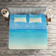 Tropical Quilted Coverlet And Pillow Shams Set, Carribean Sea Beach Print