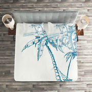 Tropical Quilted Coverlet And Pillow Shams Set, Palm Trees At Beach Print