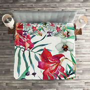Colorful Quilted Coverlet And Pillow Shams Set, Tropical Orchids Print