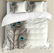 Peacock Duvet Cover Set With Pillow Shams Feathers Of Exotic Bird Print