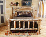 New Queen Log Bed Deluxe Double Log Sided Rustic Log Furniture Free Shipping