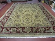9' X 12' Vintage Hand Made India Oriental Jaipur Quality Tea Wash Hand Knotted