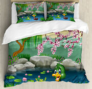 Cartoon Duvet Cover Set With Pillow Shams Duck And Frog In A Lake Print