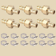 6 Sets Brass 1/2 Garden Hose Mender End Repair Male Female Connector W Clamp
