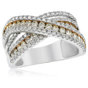 18k White Gold Pave Fancy Natural Yellow Diamond X Crossover Cocktail Ring
