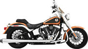 Freedom Perf American Outlaw Dual Exhaust Harley Softail 07-17 Chrome Black Tip