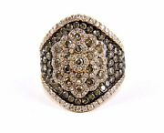 Fancy Color Diamond Wide Cluster Pave Ring Band 14k Rose Gold 2.40ct