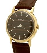 Vintage Bulova Hand-winding Gold Filled Brown Dial 32mm Watch