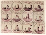 Antique Dutch Delft Tiles Fisherman And Boats Ship Manganese 18th/19th C Tile