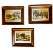 American Homestead Seasons Original1869 Framed Prints By Currier And Ives