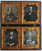 Daguerreotypes Four 6th Plates Tinted In Mother Embracing Child Case Rare.