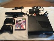 Microsoft Xbox 360 S With Kinect 250gb Black Console Two Controllers 5 Games