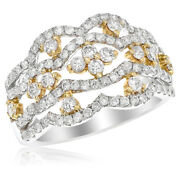 18k Yellow White Gold Two Tone 1.20c Right Hand Cocktail Fashion Ring
