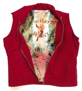 Wild West Vest Sleeveless Womenand039s Jacket Red Jeans Size Medium A6