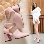 Womens Sweet Suede Pointy Toe Cross Buckle Strap Block High Heels Dating Shoes