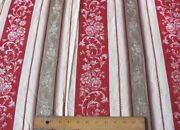 Beautiful Antique C1900 French Floral Turkey Red Ticking Fabricl-127x W-62