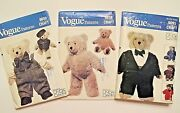Vintage 23 Stuffed Bear Doll And Clothes Pattern Lot_vogue 8658 8659 9093_uncut