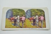 Antique Stereoview Card No. 416 Packing A Bronco. Ready Again Collectible