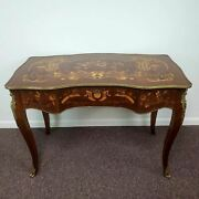Antique French Louis Xvi Style Desk Floral Marquetry Inlay With Brass Accents