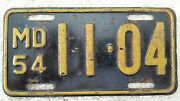 1954 Maryland Motorcycle License Plate, Rare, Original Condition