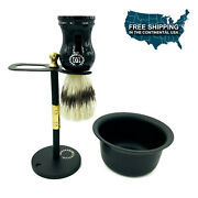 Vintage Stainless Steel Shaving Stand For Razor And Brush + Shaving Cup Black 3 Pc
