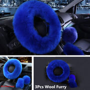 3pcs Car Steering Wheel Cover Gem Blue Wool Winter Essential Furry Fluffy Thick