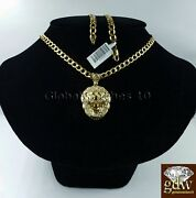 Real Mens 10k Gold Lion Head Charm Pendant With 28 Inch Miami Cuban Link Chain.