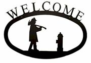 Wrought Iron Welcome Sign Fireman Silhouette Large Outdoor Plaque Home Decor