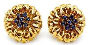 Vintage And Co. Solid 18k And Sapphires Earrings With Box