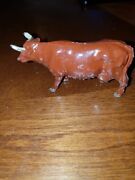 Vintage Lead Toy Brown Milk Cow With Horns-j Hill Co.